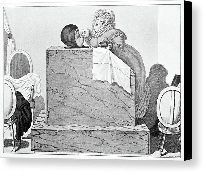Human Canvas Print featuring the photograph Steam Bath, Satirical Artwork by