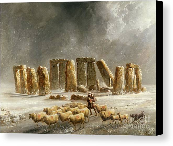 Stonehenge In Winter By Williams Canvas Print featuring the painting Stonehenge In Winter by Walter Williams