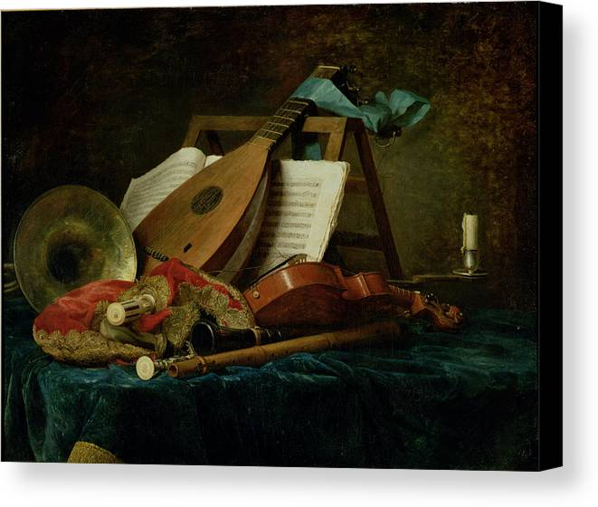 The Attributes Of Music Canvas Print featuring the painting The Attributes Of Music by Anne Vallaer-Coster
