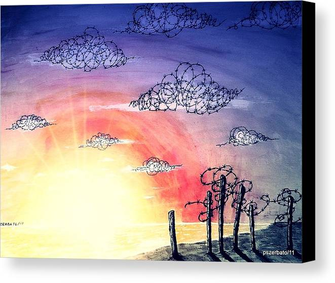 The Pain Canvas Print featuring the digital art The Pain Of Sky That Will Never Be Calm by Paulo Zerbato