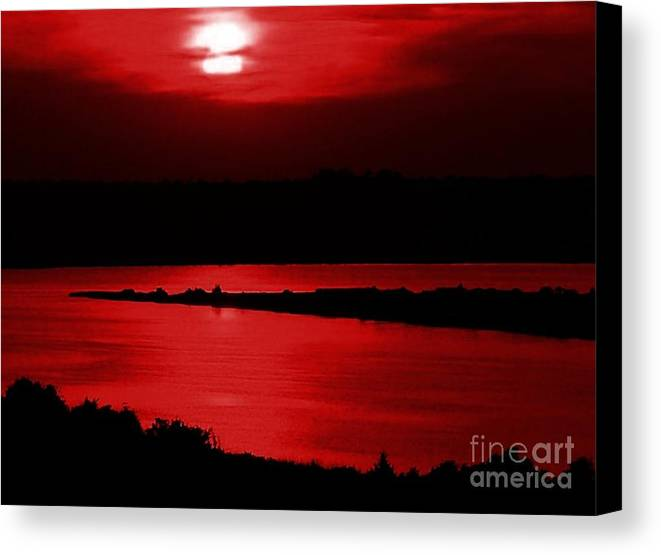 Sunset Canvas Print featuring the photograph Topsail Island Blood-red Sunset by Julie Dant