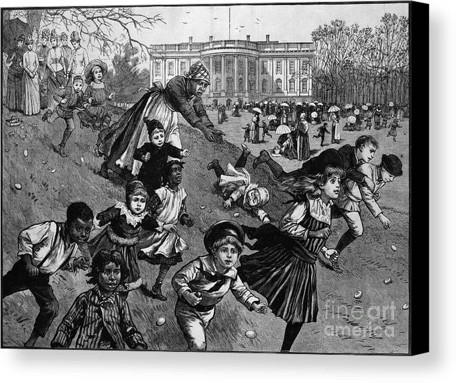 1887 Canvas Print featuring the photograph White House: Easter, 1887 by Granger