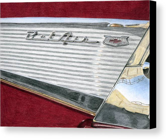 Classic Canvas Print featuring the drawing 1957 Chevrolet Bel Air Convertible by Rob De Vries