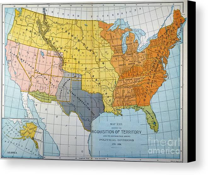 Us Map Canvas Print Canvas Art By Granger - Us map in 1776