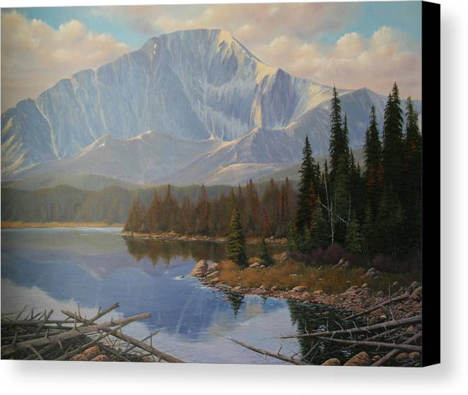 Pikes Peak Canvas Print featuring the painting 080625-3648 Holding On To Summer by Kenneth Shanika