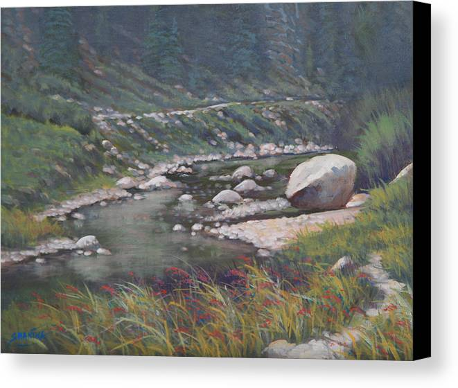 Landscape Canvas Print featuring the painting 091001-912 Etched By Eons by Kenneth Shanika