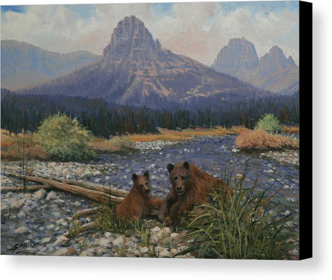 Landscape Canvas Print featuring the painting 091020-912 Surprised by Kenneth Shanika