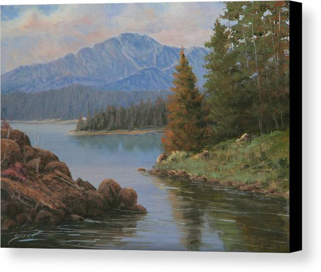 Landscape Canvas Print featuring the painting 091021-912 The Peak In June by Kenneth Shanika