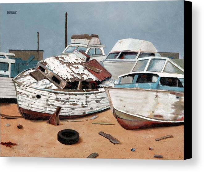 Boats Canvas Print featuring the painting Abandoned Dreams by Robert Henne