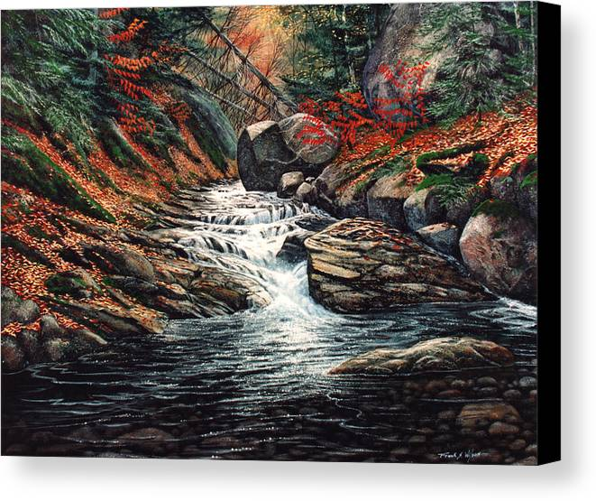 Landscape Canvas Print featuring the painting Autumn Brook by Frank Wilson