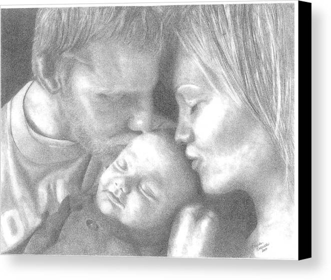 Graphite Canvas Print featuring the drawing Cassiday Family 1 by Rhonda Rodericks