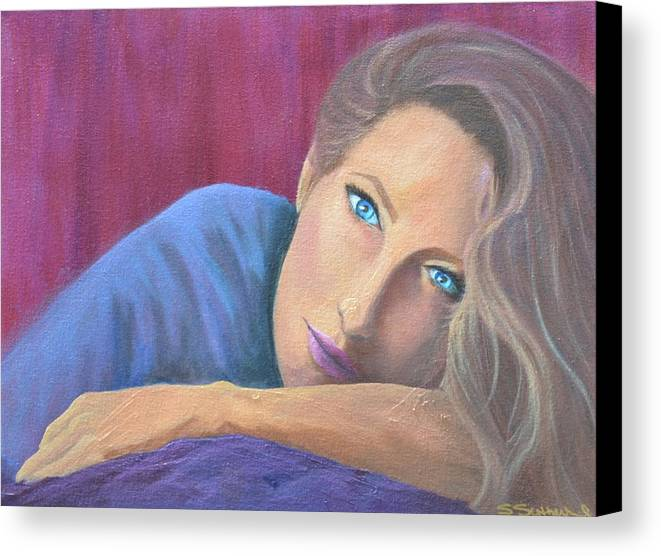 Figure Canvas Print featuring the painting Looking At You by Sheryl Sutherland