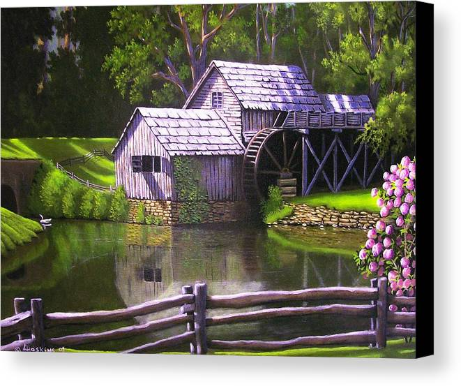 Landscapes Canvas Print featuring the painting Mabry Mill by Larry Hoskins