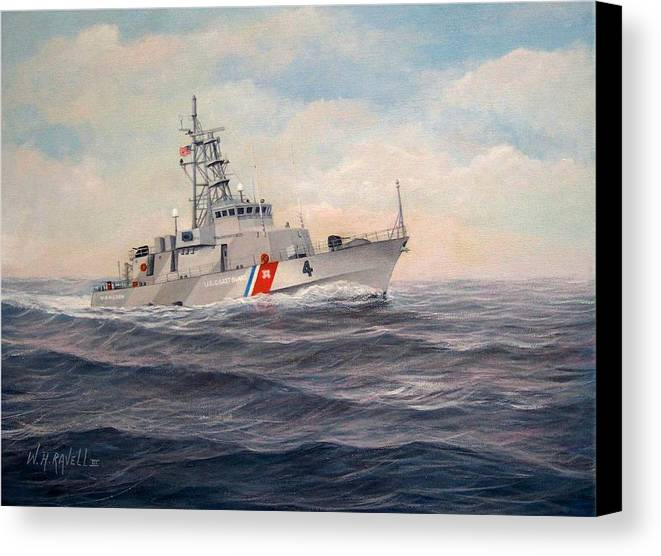 Coast Guard Canvas Print featuring the painting U. S. Coast Guard Cutter Monsoon by William H RaVell III