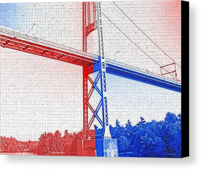 Bridges Canvas Print featuring the photograph 1000 Island International Bridge 2 by Steve Ohlsen