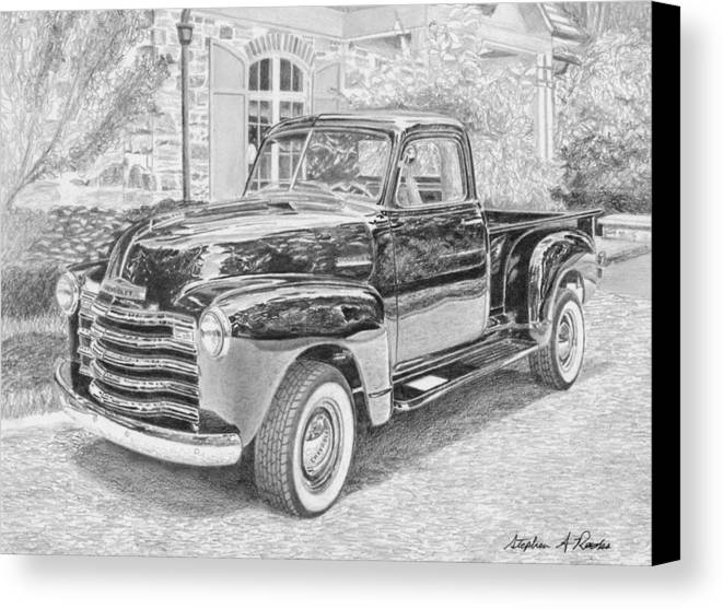 Rooks10904 Drawings Canvas Print featuring the drawing 1949 Chevrolet Pickup Truck Art Print by Stephen Rooks