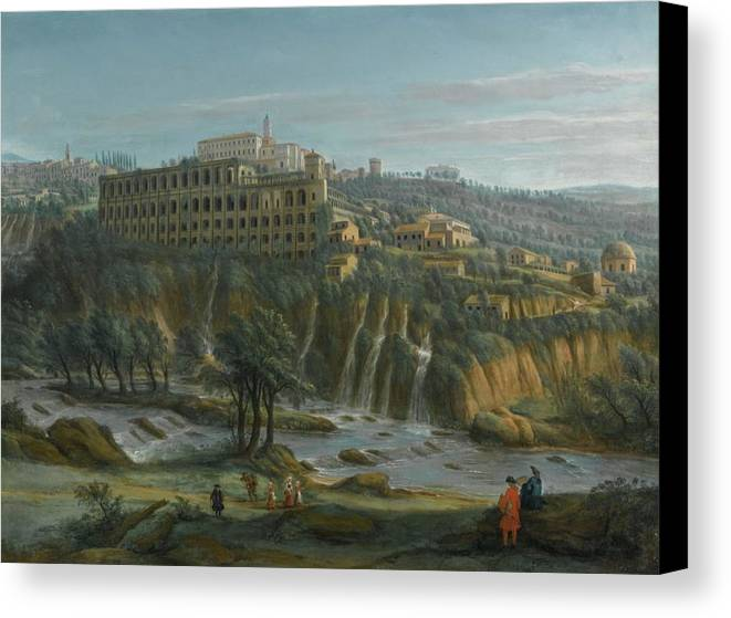 Gaspar Van Wittel Canvas Print featuring the painting A View Of The Waterfalls And The Villa Of Maecenas by MotionAge Designs