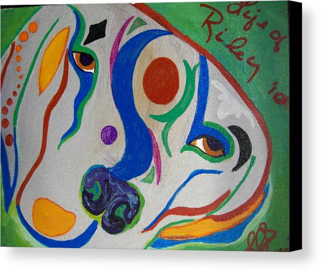 Silver Canvas Print featuring the painting life of Riley by Laurette Escobar