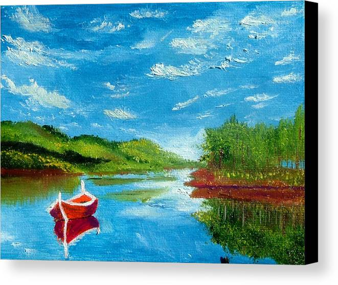 Boat Canvas Print featuring the painting Red Boat by Inna Montano