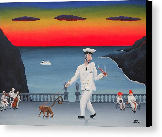 Landscape Captain Monkey Orchestra Jazz Childhood South Tropical Island Cruise Ship Wacation Resort Canvas Print featuring the painting A Captain And His Monkey by Poul Costinsky