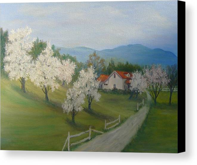 Landscape; Spring; Mountains; Country Road; House Canvas Print featuring the painting A Day In The Country by Ben Kiger