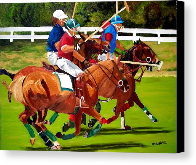 Polo Canvas Print featuring the painting A Game Of Polo by Michael Lee
