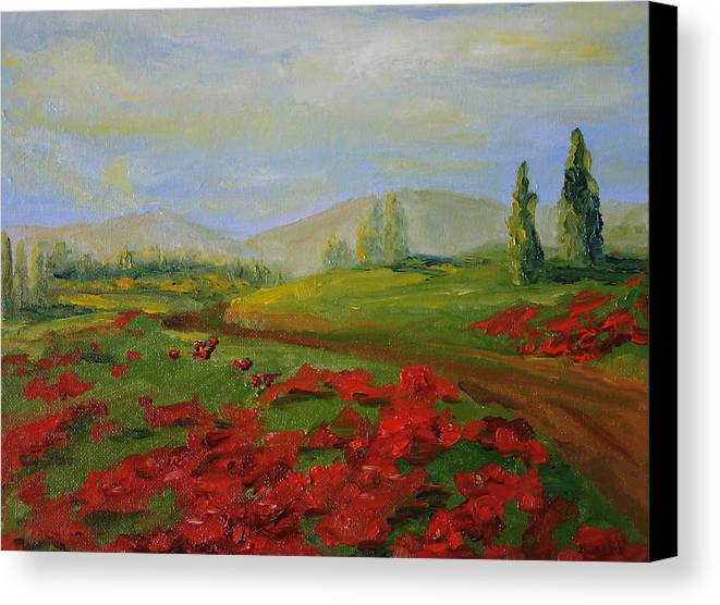 Tuscany Canvas Print featuring the painting a walk in Tuscany by Martha Layton Smith