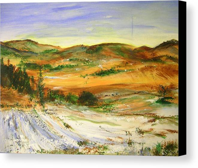 Landscape Canvas Print featuring the painting Aberdeen Winter Landscape by Lizzy Forrester