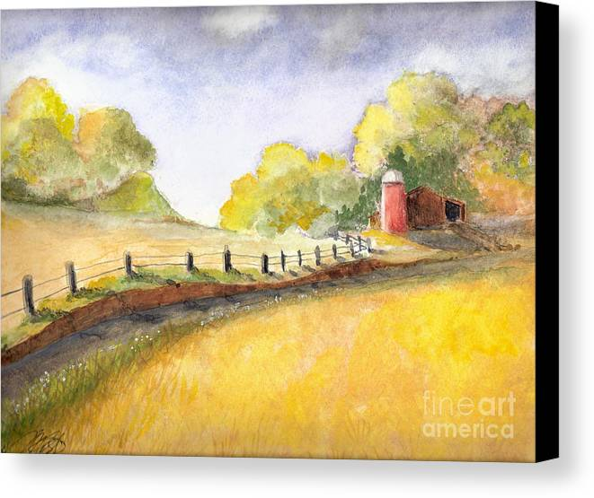 Landscape Canvas Print featuring the painting After The Rain by Vivian Mosley