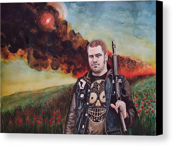 Watercolor Canvas Print featuring the painting Apocalyptic Bliss by Chris Slaymaker