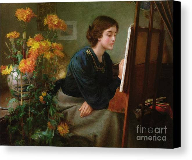 Female; Artist; Painting; Studio; Flowers; Interior; Victorian Canvas Print featuring the painting At The Easel by James N Lee