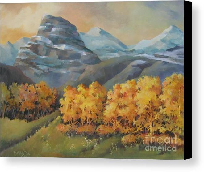 Landscape Canvas Print featuring the painting Autumn At Kananaskis by Marta Styk