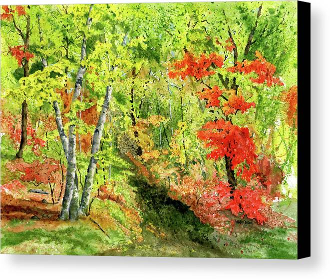 Autumn Canvas Print featuring the painting Autumn Fun by Mary Tuomi