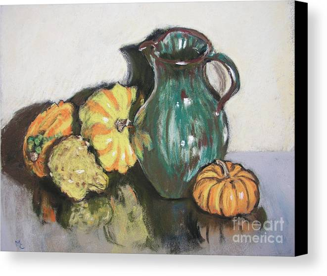 Still Life Canvas Print featuring the pastel Autumn Gourds by Mary Capriole
