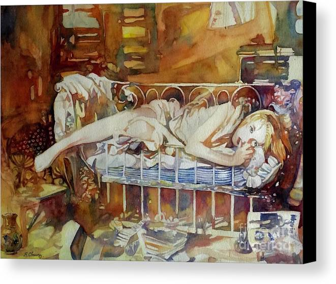 Girl Canvas Print featuring the painting Baby Doll by Francoise Chauray