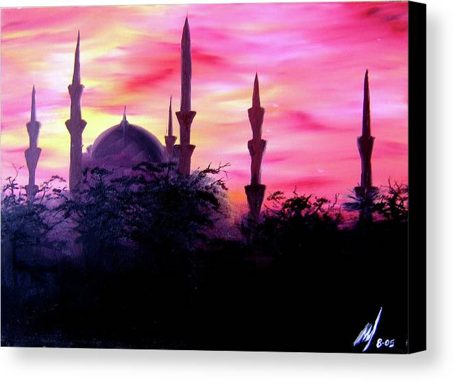 Painting Canvas Print featuring the painting Baghdad Sunset by Michael McKenzie