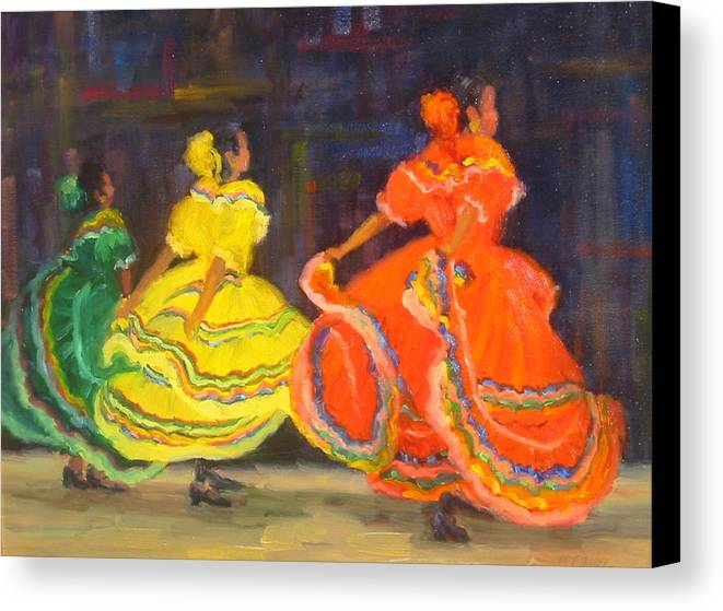 Figure Canvas Print featuring the painting Ballet Folklorico by Bunny Oliver
