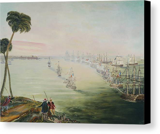 Sea Battle Canvas Print featuring the painting Battle Of The Nile by Richard Barham