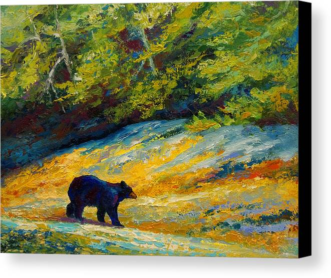 Bear Canvas Print featuring the painting Beach Lunch - Black Bear by Marion Rose