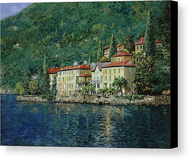 Landscape Canvas Print featuring the painting Bellano On Lake Como by Guido Borelli