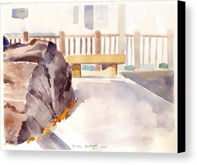 Nature Canvas Print featuring the painting Big Rock 1 by Linda Berkowitz