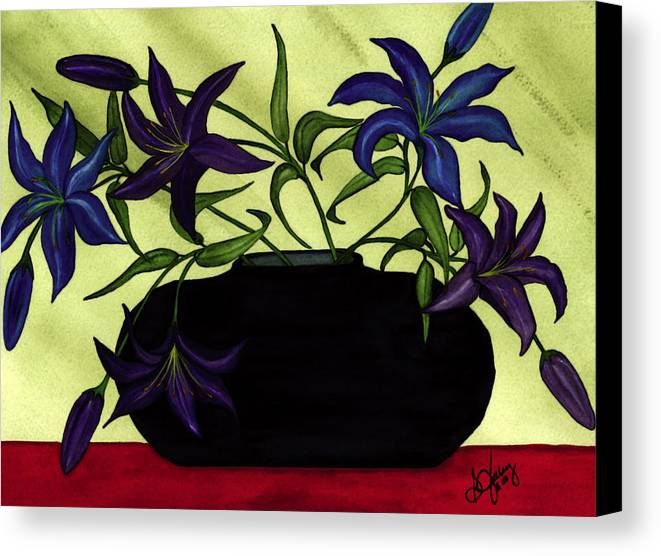 Black Vase Canvas Print featuring the painting Black Vase With Lilies by Stephanie Jolley