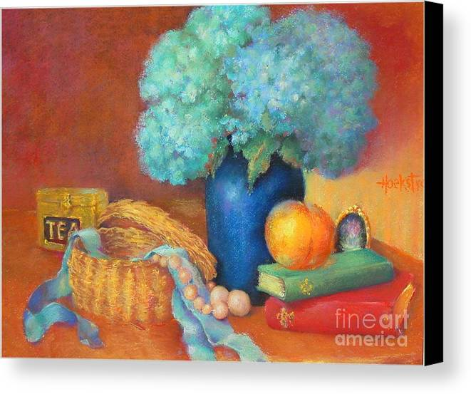 Floral Canvas Print featuring the painting Blue Hydrangeas  Copyrighted by Kathleen Hoekstra