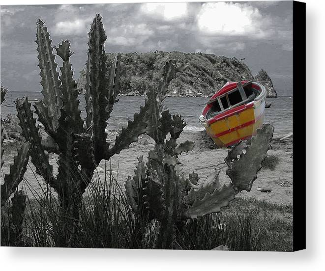Boat Canvas Print featuring the photograph Boat On Beach by Jim Wright