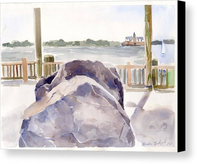 Paintings Canvas Print featuring the painting Boulder by Linda Berkowitz