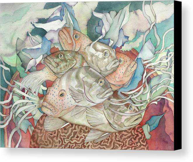 Fish Canvas Print featuring the painting Brain Coral Party by Liduine Bekman