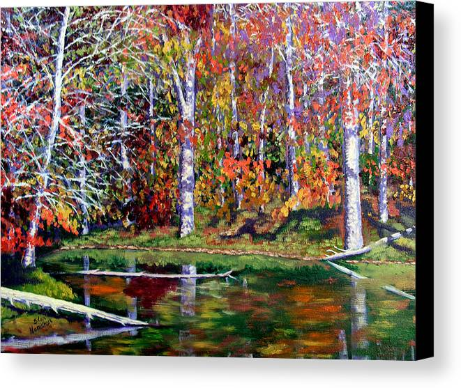 Fall Canvas Print featuring the painting Brown County In Fall by Stan Hamilton