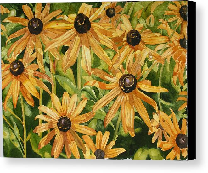 Floral Canvas Print featuring the painting Brown Eyes by Helen Shideler