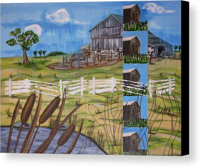 Farms Canvas Print featuring the painting Bullrushes by Judy Anderson