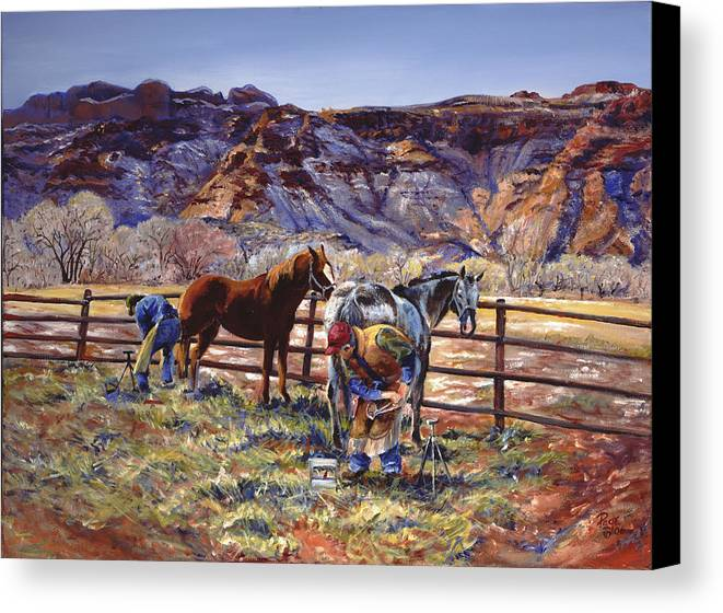 Horse Canvas Print featuring the painting Butch And Clayton Swapping Shoes And Tales by Page Holland